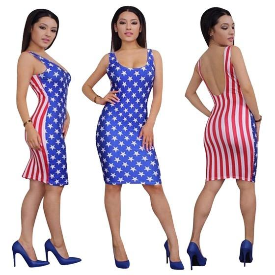 Blue Striped America Flag Print Backless Round Neck Bodycon Midi Dress
