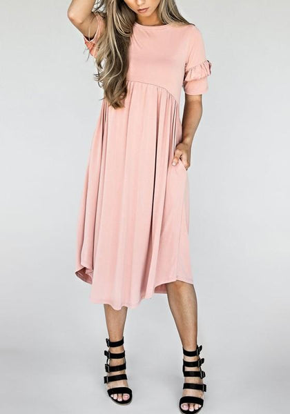 Pink Pockets Pleated Irregular Round Neck Sweet Midi Dress