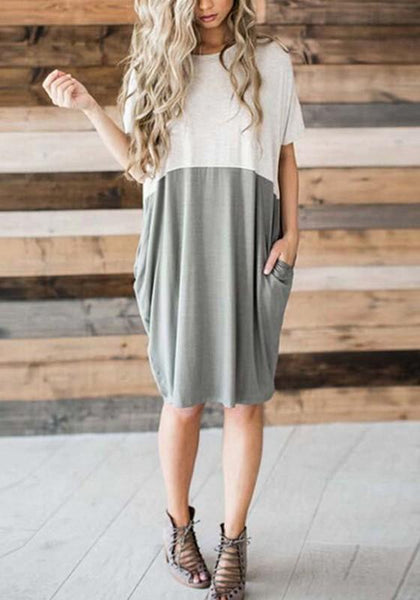 Grey Patchwork Pockets Round Neck Fashion Midi Dress