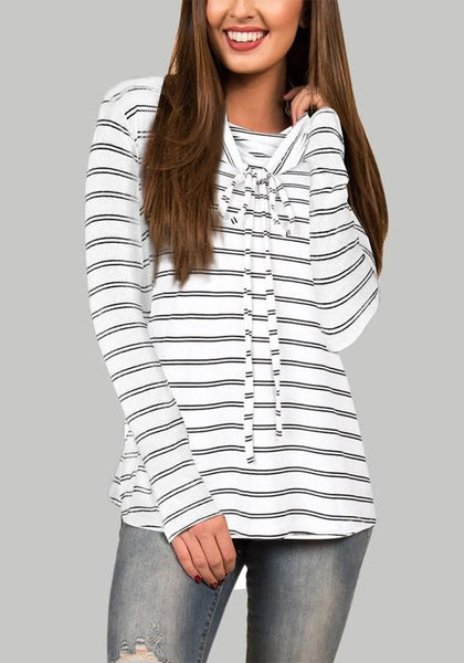 White-Black Striped Drawstring Long Sleeve Cowl Neck Oversized Casual T-Shirt