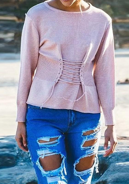Pink Patchwork Lace-Up Round Neck Long Sleeve Fashion Pullover Sweater
