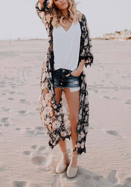 Black Floral Lace Three Quarter Length Sleeve Fashion Chiffon Coat