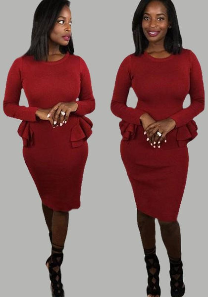 Burgundy Ruffle Peplum Long Sleeve Round Neck Elegant Cocktail Party Midi Dress