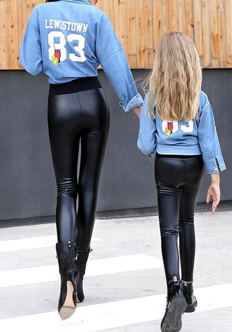 Black PU Leather Skinny High Waisted Going Out Casual Long Legging