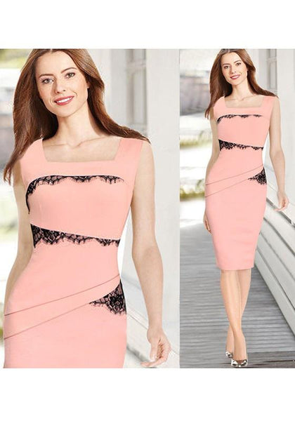 Pink Plain Patchwork Lace Square Neck Fashion Slim Midi Dress