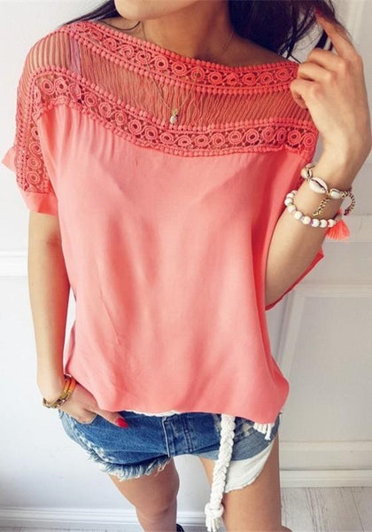 Pink Patchwork Hollow-out Round Neck Short Sleeve T-Shirt