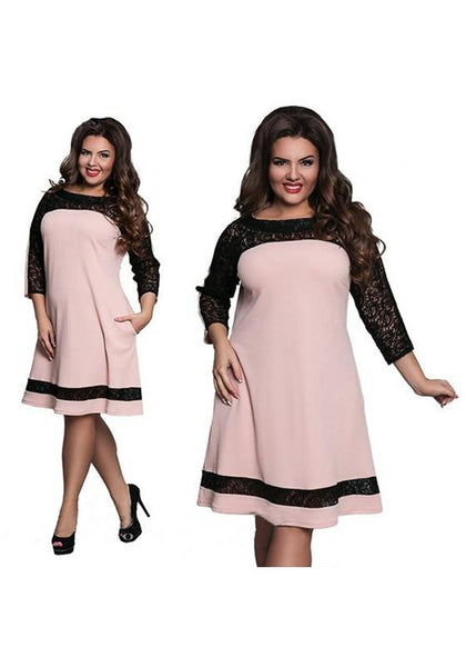 Pink Patchwork Lace Long Sleeve Fashion Midi Dress