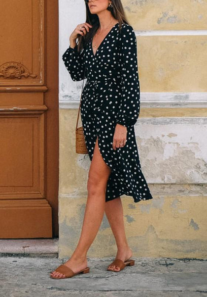 Black Polka Dot Cut Out V-neck Long Sleeve Midi Dress