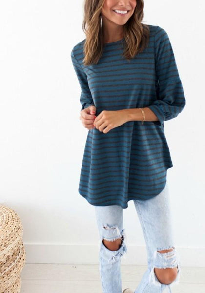 Blue Striped Irregular Round Neck Casual T-Shirt