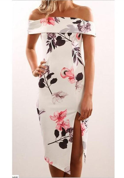 White Floral Cut Out Boat Neck Short Sleeve Midi Dress