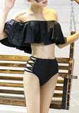 ByChicStyle Black Plain 2-in-1 Cut Out Ruffle Swimwear