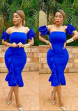 ByChicStyle Royal Blue Ruffle Pleated Off Shoulder Bandeau Backless Bodycon Mermaid Party Midi Dress