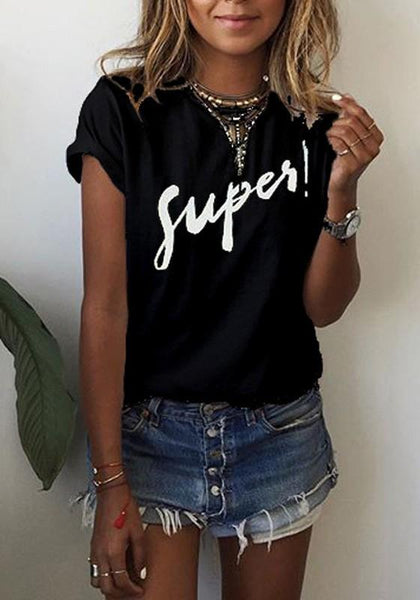 Black Monogram Round Neck Short Sleeve Loose Casual T-Shirt