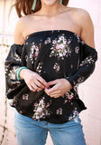 ByChicStyle Black Floral Boat Neck Off Shoulder Ruffle Long Sleeve Blouse