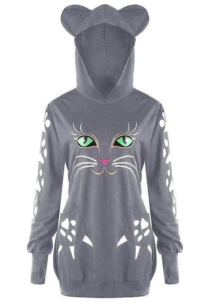 Grey Cat Print Hooded Long Sleeve Oversize Cute Sweatshirt