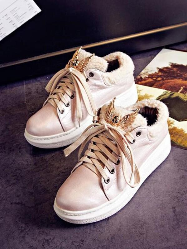 New Pink Round Toe Flat Metal Decoration Patchwork Fashion Shoes