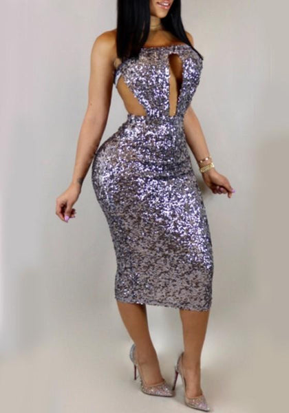 Purple Sequin Cut Out Off Shoulder Backless Sparkly Club Cocktail Party Midi Dress