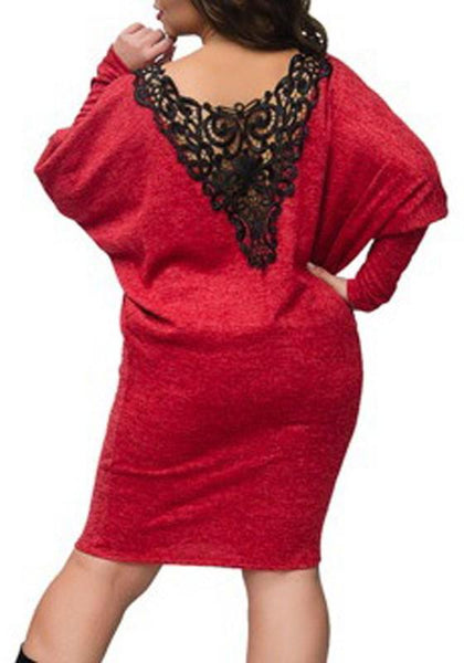 Red Patchwork Lace Backless Round Neck Dolman Sleeve Fashion Midi Dress