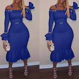 ByChicStyle Blue Ruffle Shoulder-Strap Off Shoulder Flare Sleeve Party Midi Dress