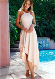 ByChicStyle Apricot Condole Belt Zipper Irregular Fashion Maxi Dress