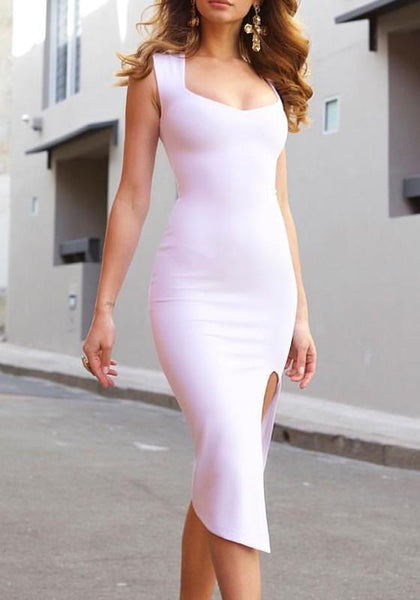 White Side Slit Bodycon U-neck Going out Party Midi Dress