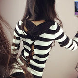 ByChicStyle Black Striped Round Neck Long Sleeve Fashion Pullover Sweater