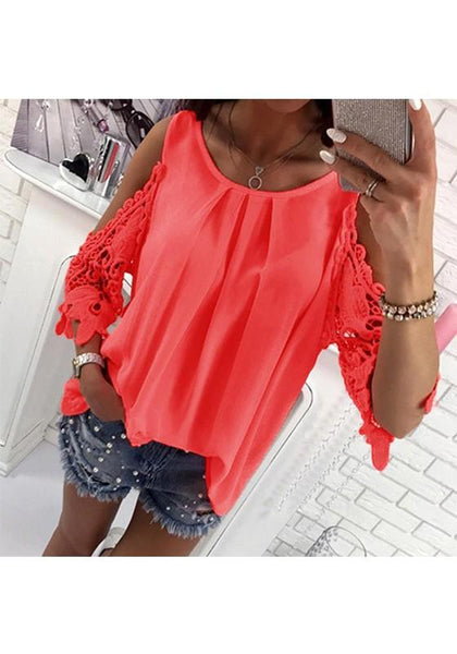 Orange Patchwork Cut Out Tie Back Round Neck Fashion Blouse