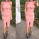 ByChicStyle Pink Plain Hollow-out High Neck Midi Dress