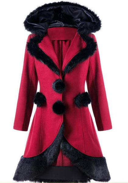 Red Patchwork Drawstring Tie Back Long Sleeve Chrismas Hooded Coat