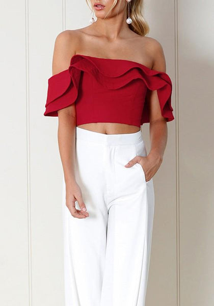 Red Crop Ruffle Collar Elbow Sleeve Fashion T-Shirt
