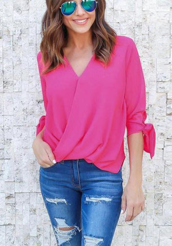 Rose Carmine Plain Irregular V-neck Three Quarter Length Sleeve Fashion Blouse