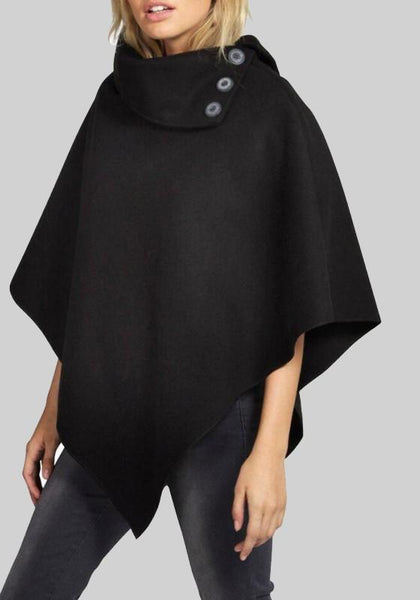 Black Buttons Irregular Cape Coat