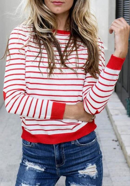 Red-White Striped Round Neck Casual Going Out T-Shirt
