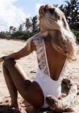 ByChicStyle White Ruffle Lace Backless One Piece Sweet Cute Beachwear Bathing Suit Swimwear