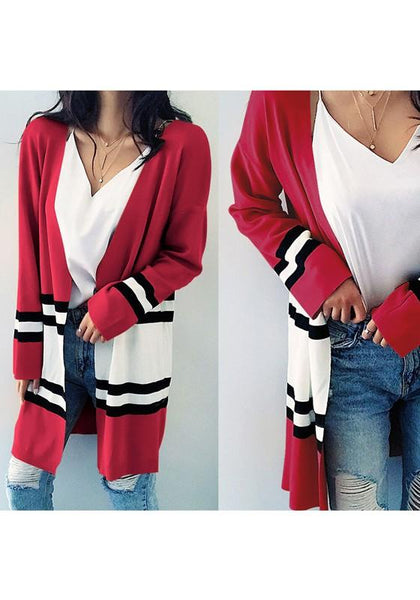 Red-White Striped Color Block Fashion Oversize Long Cardigan Sweater