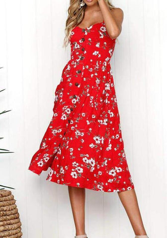 Red Floral Print Draped Single Breasted Spaghetti Strap V-neck Sweet Homecoming Party Midi Dress