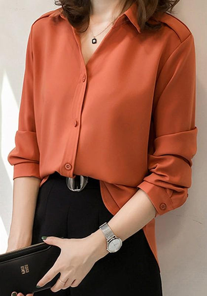 Orange Single Breasted Turndown Collar Elegant Office Worker/Daily Blouse
