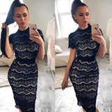 ByChicStyle Navy Blue Flowers Lace Ribbons Round Neck Elegant Midi Dress