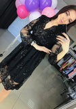 ByChicStyle Black Patchwork Lace Hollow-out Grenadine Sequin Midi Dress