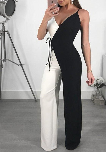 Black Spaghetti Strap Lace-Up V-neck High Waisted Work Suit Elegant Party Long Jumpsuit