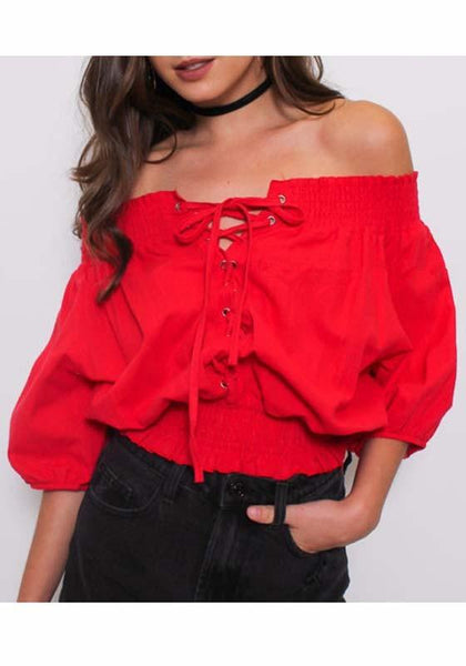 Red Cross Drawstring Lace-up Off Shoulder Backless Sweet Going out Blouse