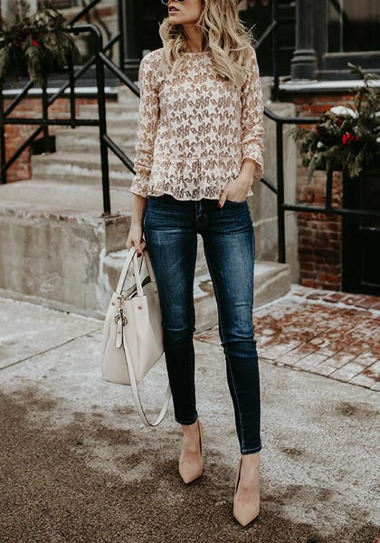 Apricot Galaxy Print Cut Out Round Neck Sweet Blouse