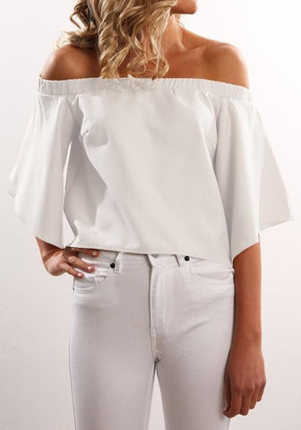 White Plain Irregular Ruffle Boat Neck Fashion Blouse