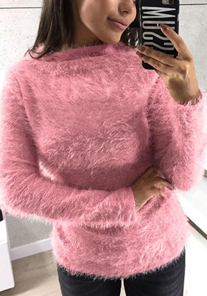 Pink High Neck Long Sleeve Fashion Pullover Sweater