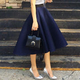 ByChicStyle Navy Blue Plain Pleated Hollow-out Skater Flared Vintage Ball Gown High Waisted Fluffy Tutu Midi Skirt