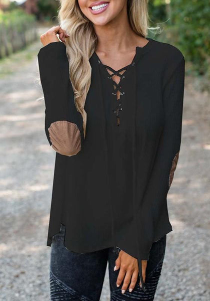 Black Patchwork Drawstring Round Neck Long Sleeve Fashion T-Shirt