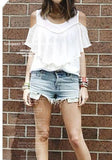 ByChicStyle White Cut Out Ruffle Round Neck Short Sleeve T-Shirt