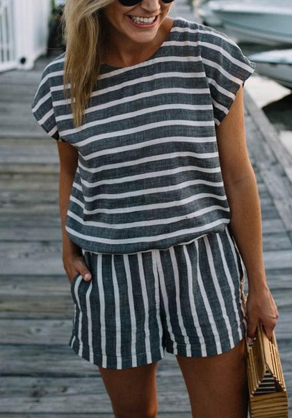 Black-White Striped Pockets Two Piece Casual Going out Short Jumpsuit