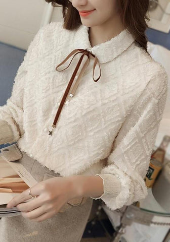 Apricot Buttons Lace-up Turndown Collar Sweet Cute Blouse