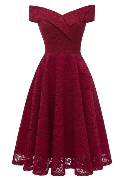 Burgundy Draped Lace Off Shoulder Backless V-neck Banquet Elegant Party Midi Dress